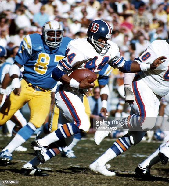 Running back Floyd Little of the Denver Broncos heads upfield on a run in a 4228 win over the San Diego Chagers on December 9 at San Diego Stadium in...