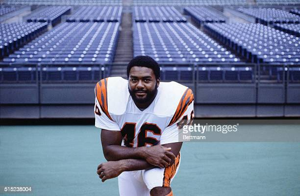 Running back for the Cincinnati Bengals Pete Johnson is shown here as he kneels on the field He is currently involved in a drug case
