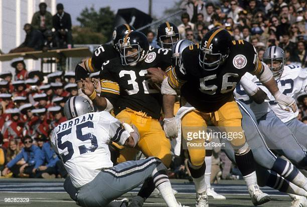 Running Back Franco Harris of the Pittsburgh Steelers is tackled by linebacker Lee Roy Jordan of the Dallas Cowboys during Super Bowl X on January 18...