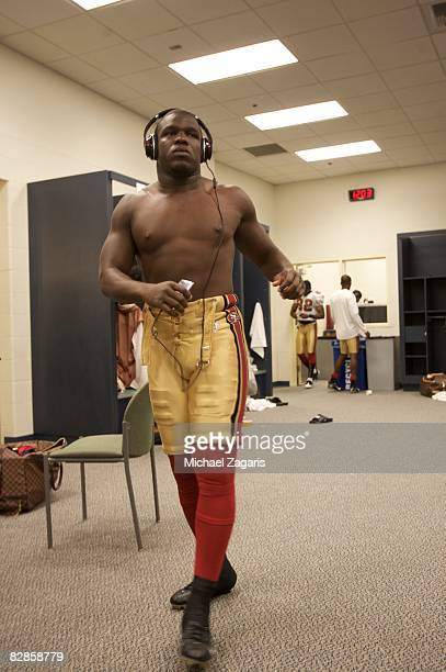 Running back Frank Gore of the San Francisco 49ers prepares in the locker room before an NFL game against the Seattle Seahawks on September 14 2008...