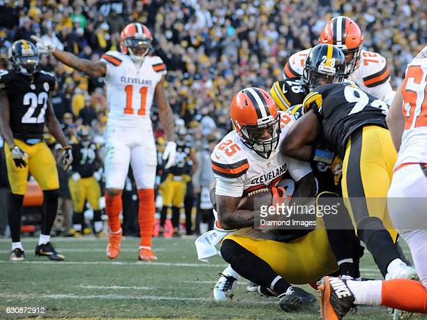 Running back George Atkinson III of the Cleveland Browns scores a rushing touchdown during a game against the Pittsburgh Steelers on January 1 2017...