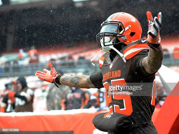 Running back George Atkinson III of the Cleveland Browns walks onto the field prior to a game against the Cincinnati Bengals on December 11 2016 at...