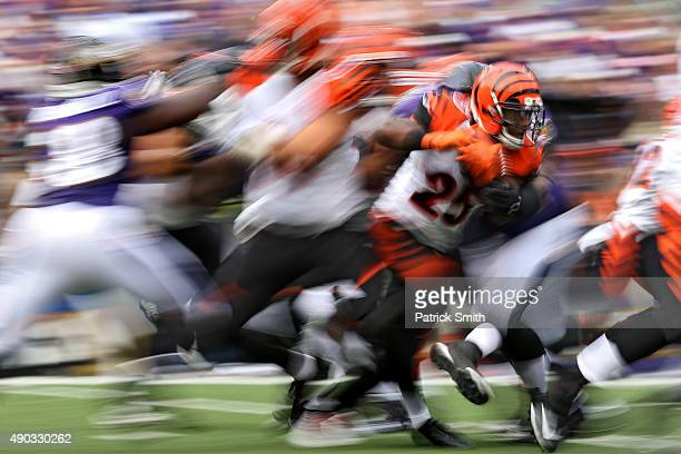 Running back Giovani Bernard of the Cincinnati Bengals rushes against the Baltimore Ravens in the second half at MT Bank Stadium on September 27 2015...