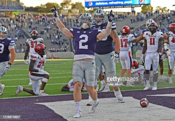 Running back Harry Trotter of the Kansas State Wildcats celebrates after scoring a touchdown against the Texas Tech Red Raiders during the second...