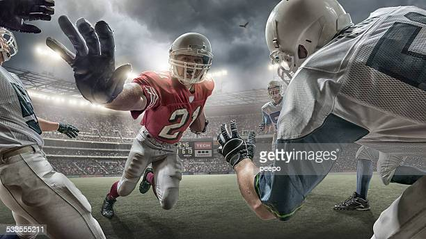 running back de futebol americano de acção - american football sport imagens e fotografias de stock
