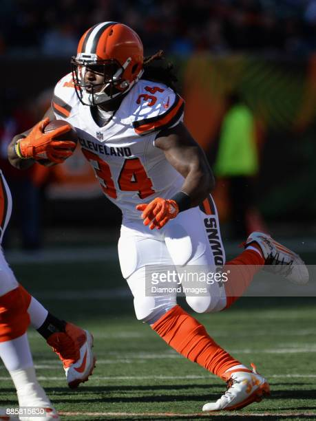 Running back Isaiah Crowell of the Cleveland Browns carries the ball downfield in the first quarter of a game on November 26 2017 against the...
