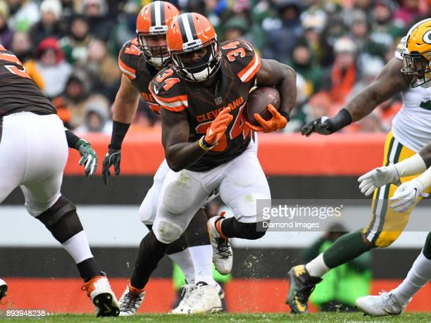 Running back Isaiah Crowell of the Cleveland Browns carries the ball downfield in the second quarter of a game on December 10 2017 against the Green...