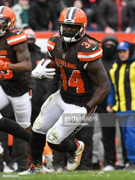 Running back Isaiah Crowell of the Cleveland Browns carries the ball downfield in the third quarter of a game on December 10 2017 against the Green...