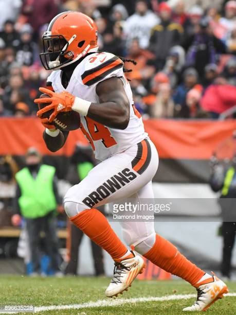 Running back Isaiah Crowell of the Cleveland Browns carries the ball in the second quarter of a game on December 17 2017 against the Baltimore Ravens...