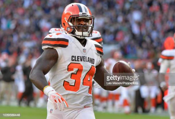 Running back Isaiah Crowell of the Cleveland Browns rushes for a touchdown during the NFL International Series match between Minnesota Vikings and...
