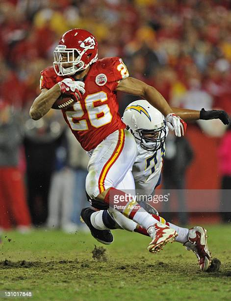 Running back Jackie Battle of the Kansas City Chiefs rushes up field against the San Diego Chargers during overtime on October 31, 2011 at Arrowhead...
