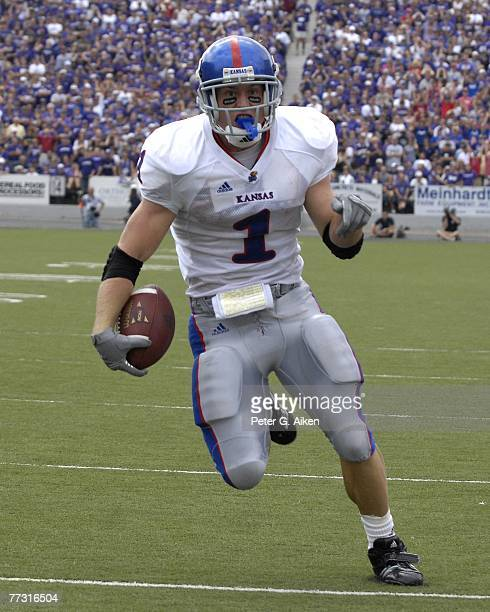 Running back Jake Sharp of the Kansas Jayhawks rushed for 80-yards and a touchdown against the Kansas State Wildcats, during a NCAA football game on...