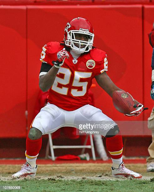 Running back Jamaal Charles of the Kansas City Chiefs celebrates after a touchdown in a game against the Tennessee Titans at Arrowhead Stadium on...