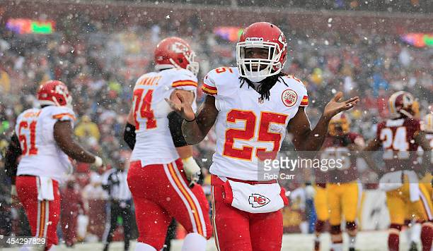 Running back Jamaal Charles of the Kansas City Chiefs celebrates after rushing for a first quarter touchdown against the Washington Redskins at...