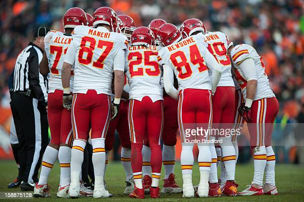 Running back Jamaal Charles of the Kansas City Chiefs is in the middle of the offensive huddle during a game against the Denver Broncos at Sports...