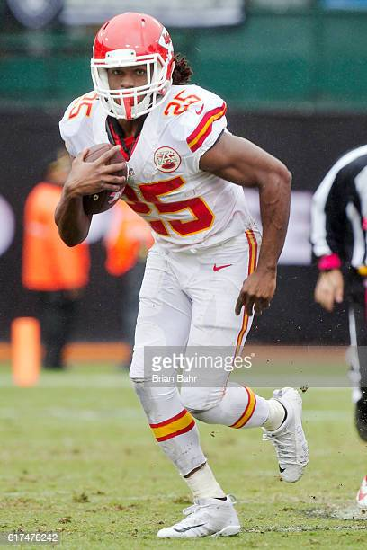 Running back Jamaal Charles of the Kansas City Chiefs makes a 17-yard gain against the Oakland Raiders in the second quarter on October 16, 2016 at...