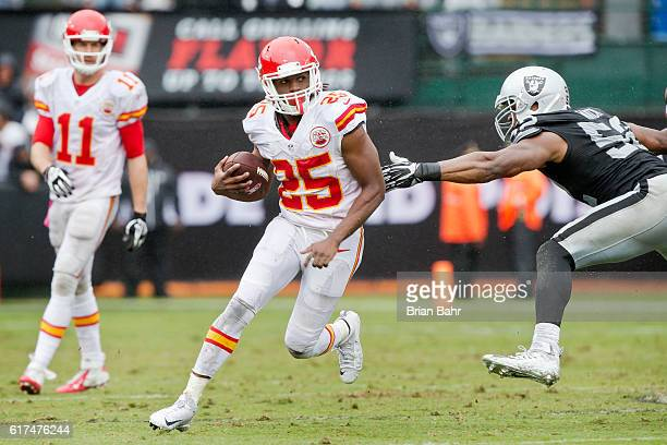 Running back Jamaal Charles of the Kansas City Chiefs makes a 17yard gain against the Oakland Raiders in the second quarter on October 16 2016 at...