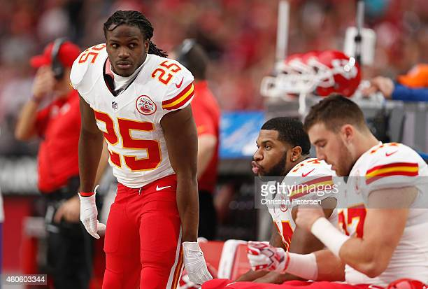 Running back Jamaal Charles of the Kansas City Chiefs on the bench during the NFL game against the Arizona Cardinals at the University of Phoenix...