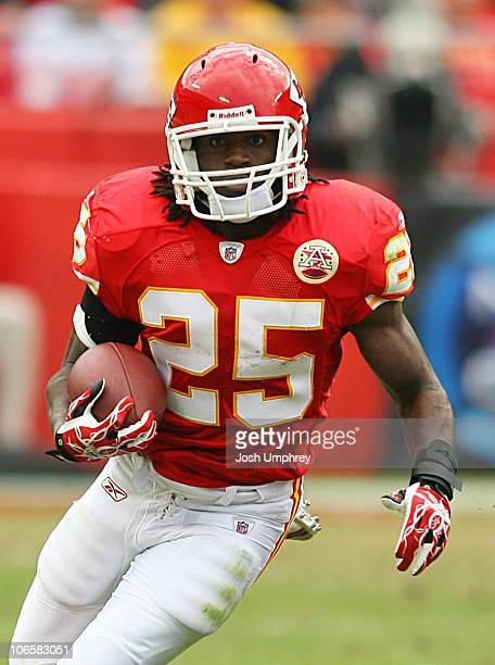 Running back Jamaal Charles of the Kansas City Chiefs runs down field in a game against the Buffalo Bills on October 31, 2010 at Arrowhead Stadium in...