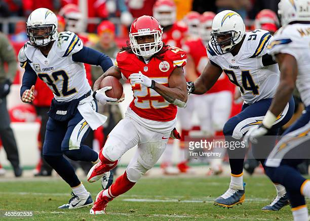 Running back Jamaal Charles of the Kansas City Chiefs runs down field in the second half of a game against the San Diego Chargers on November 24,...