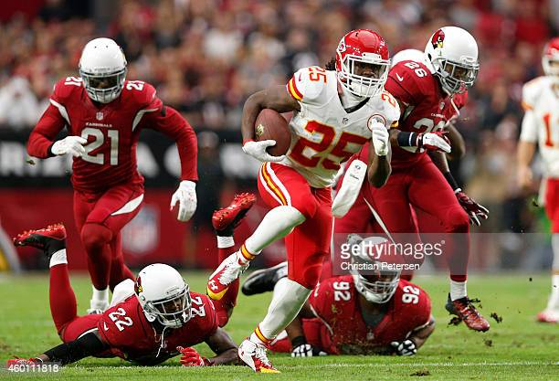 Running back Jamaal Charles of the Kansas City Chiefs runs for a 63 yard touchdown past Strong safety Tony Jefferson of the Arizona Cardinals and...