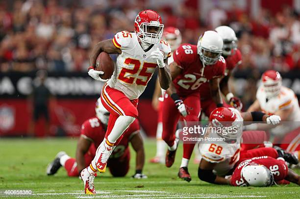 Running back Jamaal Charles of the Kansas City Chiefs runs for a 63 yard touchdown against the Arizona Cardinals during the first quarter of the NFL...