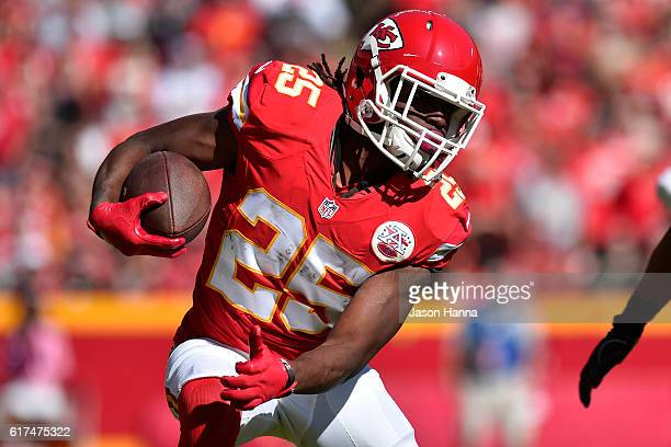 Running back Jamaal Charles of the Kansas City Chiefs rushes the ball against the New Orleans Saints at Arrowhead Stadium during the second quarter...
