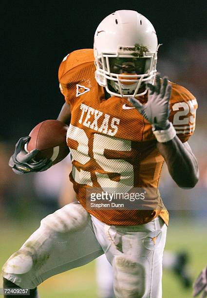 Running back Jamaal Charles of the Texas Longhorns carries the ball against the Oklahoma State Cowboys on November 4 2006 at Texas Memorial Stadium...