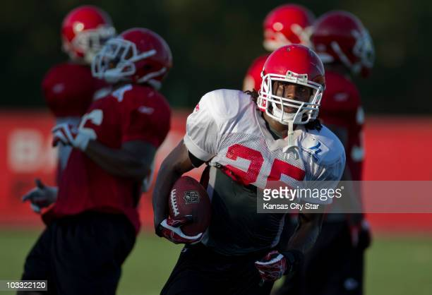 Running back Jamaal Charles runs a drill during the Kansas City Chiefs' training camp on Monday August 9 in St Joseph Missouri