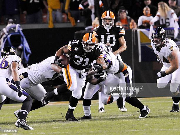 Running back Jamal Lewis of the Cleveland Browns carries the ball during a game on November 16 2009 against the Baltimore Ravens at Cleveland Browns...