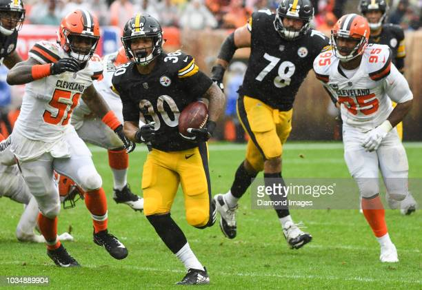 Running back James Conner of the Pittsburgh Steelers carries the ball in the third quarter of a game against the Cleveland Browns on September 9 2018...