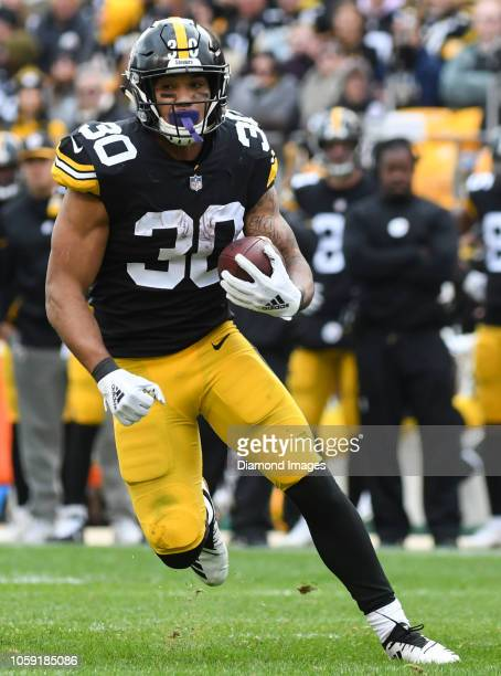 Running back James Conner of the Pittsburgh Steelers carries the ball in the second quarter of a game against the Cleveland Browns on October 28 2018...