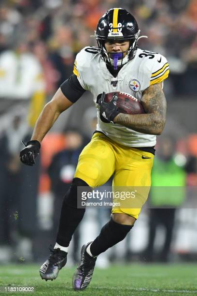 Running back James Conner of the Pittsburgh Steelers carries the ball in the first quarter of a game against the Cleveland Browns on November 14,...