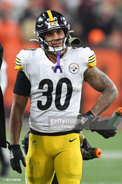 Running back James Conner of the Pittsburgh Steelers on the sideline during a timeout in the second quarter of a game against the Cleveland Browns on...