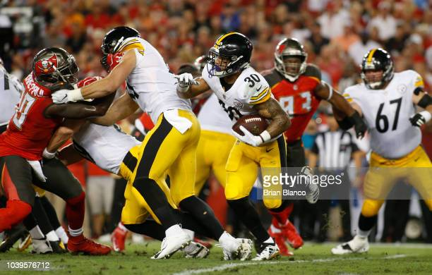 Running back James Conner of the Pittsburgh Steelers runs the ball during the first quarter of a game against the Tampa Bay Buccaneers on September...