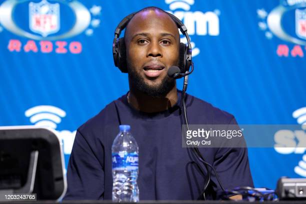 Running back James White of the New England Patriots speaks onstage during day 3 of SiriusXM at Super Bowl LIV on January 31, 2020 in Miami, Florida.