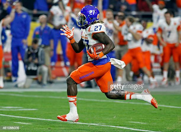 Running back Jay Ajayi of the Boise State Broncos sprints for the endzone on a touchdown run against the Arizona Wildcats during the first quarter of...