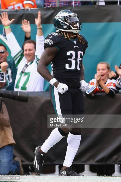 Running back Jay Ajayi of the Philadelphia Eagles celebrates his touchdown against the Denver Broncos during the second quarter at Lincoln Financial...