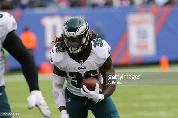 Running Back Jay Ajayi of the Philadelphia Eagles in action against the New York Giants during the game at MetLife Stadium on December 17 2017 in...