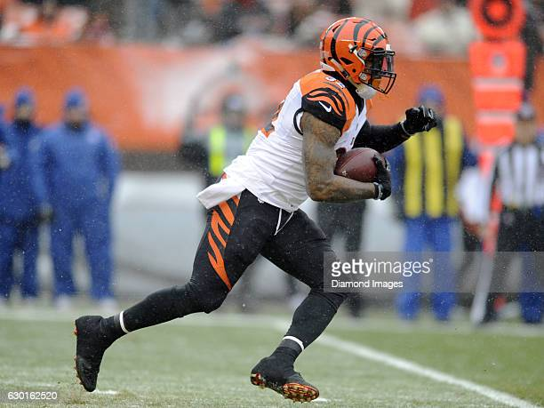 Running back Jeremy Hill of the Cincinnati Bengals carries the ball during a game against the Cleveland Browns on December 11 2016 at FirstEnergy...