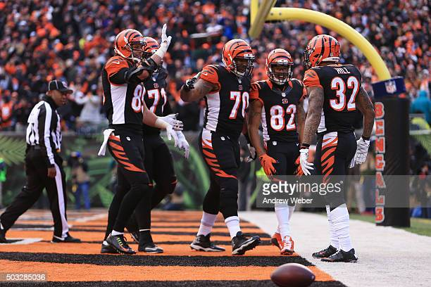Running back Jeremy Hill of the Cincinnati Bengals celebrates after scoring touchdown during the third quarter against the Baltimore Ravens at Paul...