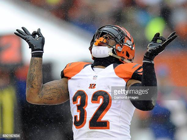 Running back Jeremy Hill of the Cincinnati Bengals celebrates after scoring a rushing touchdown during a game against the Cleveland Browns on...