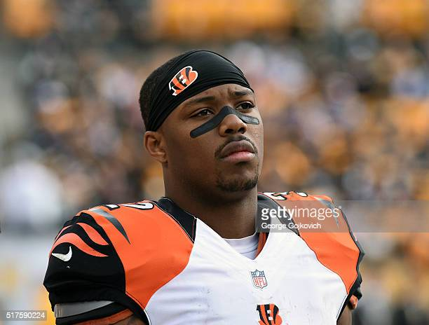 Running back Jeremy Hill of the Cincinnati Bengals looks on from the sideline during a game against the Pittsburgh Steelers at Heinz Field on...