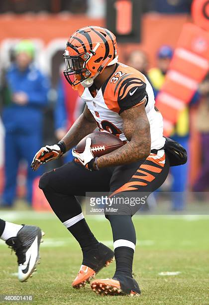 Running back Jeremy Hill of the Cincinnati Bengals runs a play during the first half against the Cleveland Browns at FirstEnergy Stadium on December...