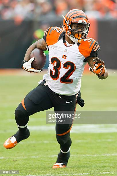 Running back Jeremy Hill of the Cincinnati Bengals runs for a gain during the second half against the Cleveland Browns at FirstEnergy Stadium on...
