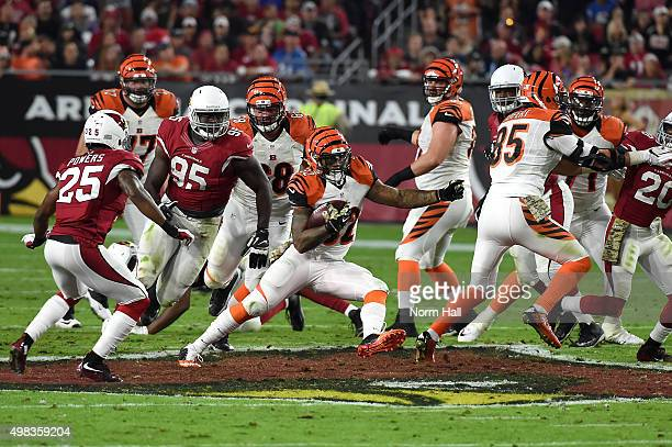 Running back Jeremy Hill of the Cincinnati Bengals runs up field during the first half of the NFL game against the Arizona Cardinals at University of...