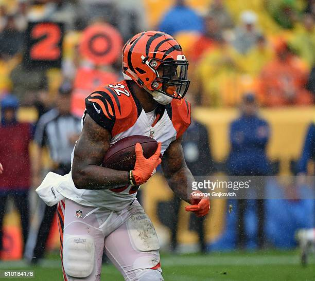 Running back Jeremy Hill of the Cincinnati Bengals runs with the football during a game against the Pittsburgh Steelers at Heinz Field on September...