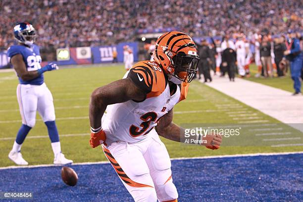Running Back Jeremy Hill of the Cincinnati Bengals scores a Touchdown against the New York Giants in the game at MetLife Stadium on November 14 2016...