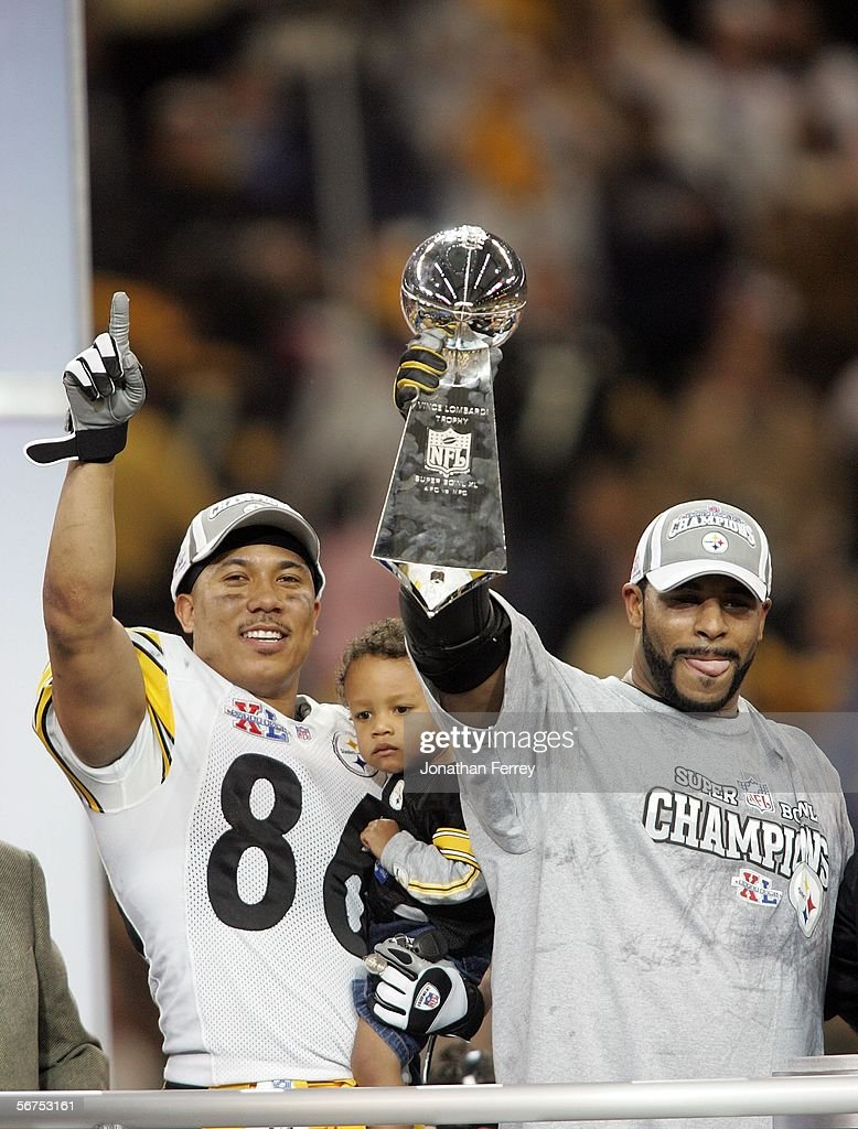 Running back Jerome Bettis #36 (R) and game MVP wide receiver Hines Ward #86 of the Pittsburgh Steelers celebrate with the Vince Lombardi Tropy after defeating the Seattle Seahawks in Super Bowl XL at Ford Field on February 5, 2006 in Detroit, Michigan. Bettis announced his retirement after the Steelers defeated the Seahawks 21-10.