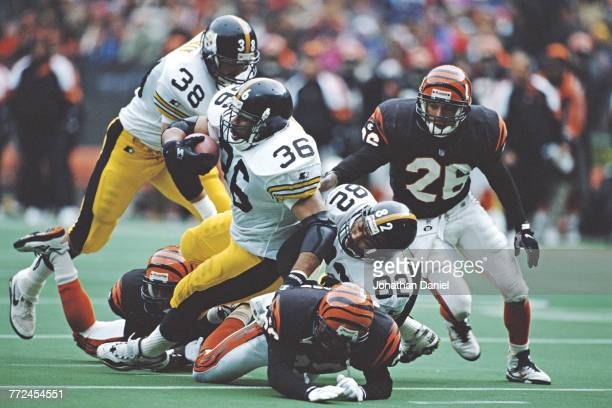Running Back Jerome Bettis and Wide Receiver Yancey Thigpen of the Pittsburgh Steelers during the American Football Conference Central game against...